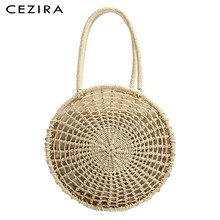 CEZIRA Summer Beach Straw Bags for Women Top-handle Bucket Shoulder Bag Ladies Round Rattan Handle Tote Bag Girls Woven Handbags(China)