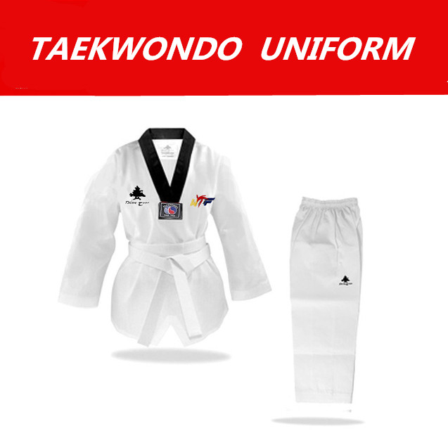2016 New MOOTO WTF Dobok Taekwondo Uniform Kukkiwon Korea Taekwondo Dobok with Special Fabric cotton black v style neck