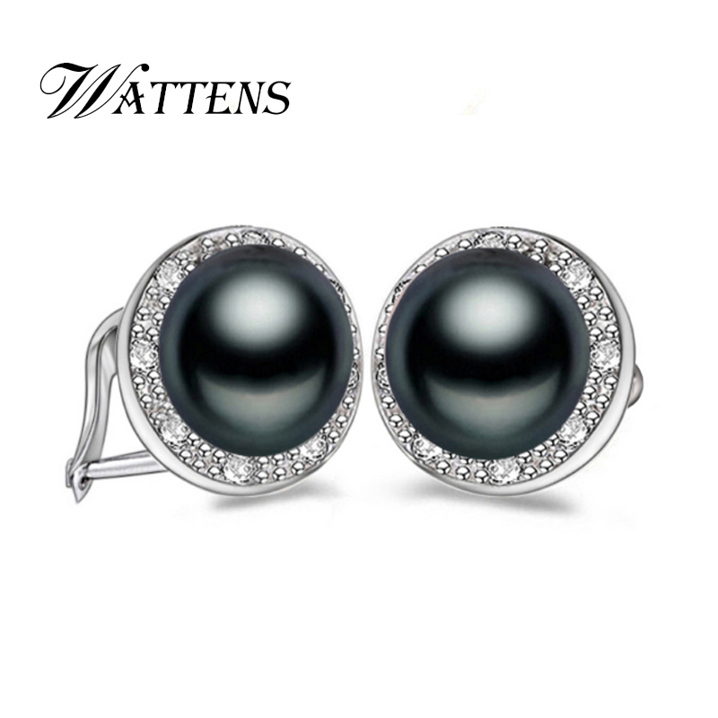 Wattens 100 Genuine Natural Pearl Stud Earrings Jewelry With Erfly Buckle For Women New Fashion In From