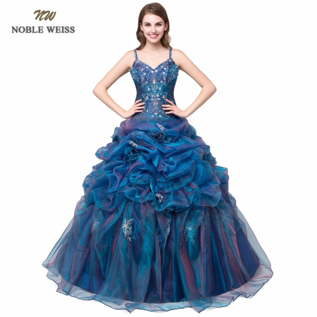 NOBLE WEISS Loverxu Elegant Blue Ball Gown Quinceanera Dress 2019 In Stock Embroidery Beading V-Neck Debutante Gown