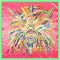 Мода Новый Дизайн Перо Корона Шелк Чувство Шарф Женщины Люксовый Бренд 90*90 см Квадратные Шарфы Пашмины Платок Большой качество Шарф