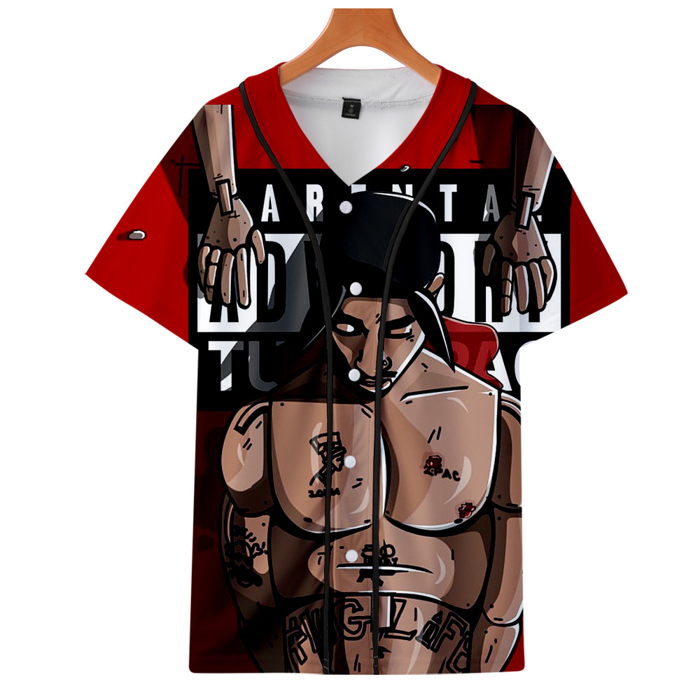 R.I.P. American Rapper 2Pac Tupac Amaru Shakur 3D Print Short Sleeve Baseball Uniform Men/Women Casual Jacket Clothes
