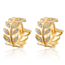 NEW Brands Fashion Women Leaf Earrings Fashion Austrian crystal Jewelry Party Gifts Female prom Gold-color crystal earrings