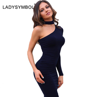 LADYSYMBOL Autumn Elegant Halter Black Bodycon Dress Women Long Sleeve Off Shoulder Sexy Club Mini Dress