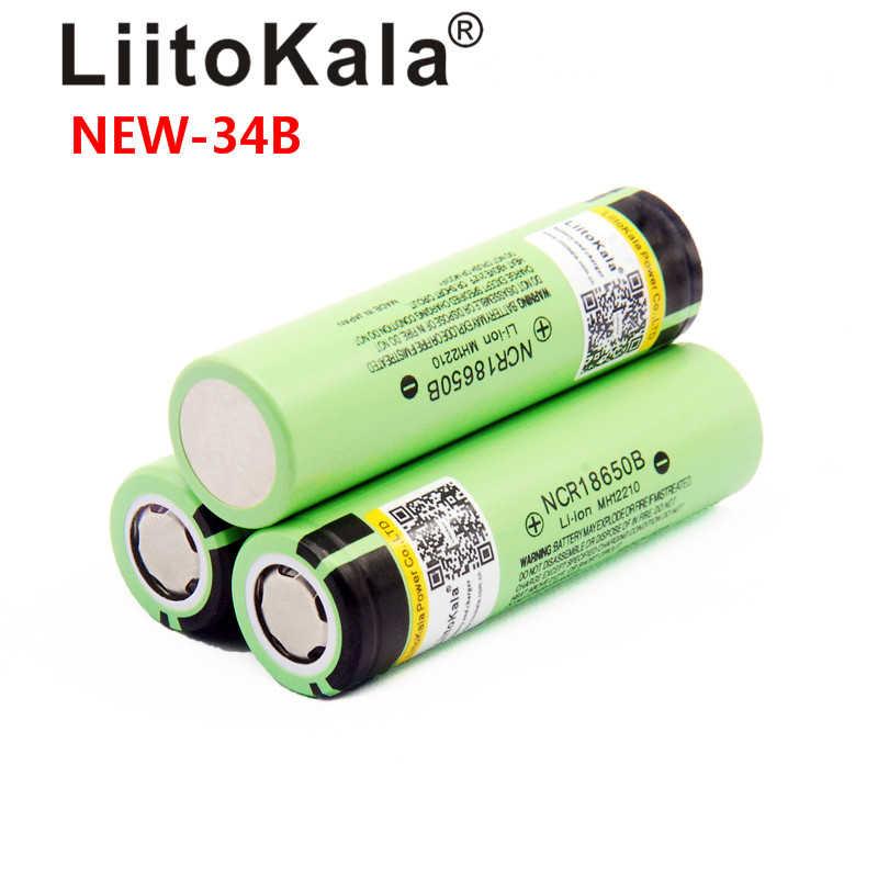 LiitoKala 100% ban đầu 3.7V NCR18650 34B pin Sạc Li-ion 18650 3400 mAh