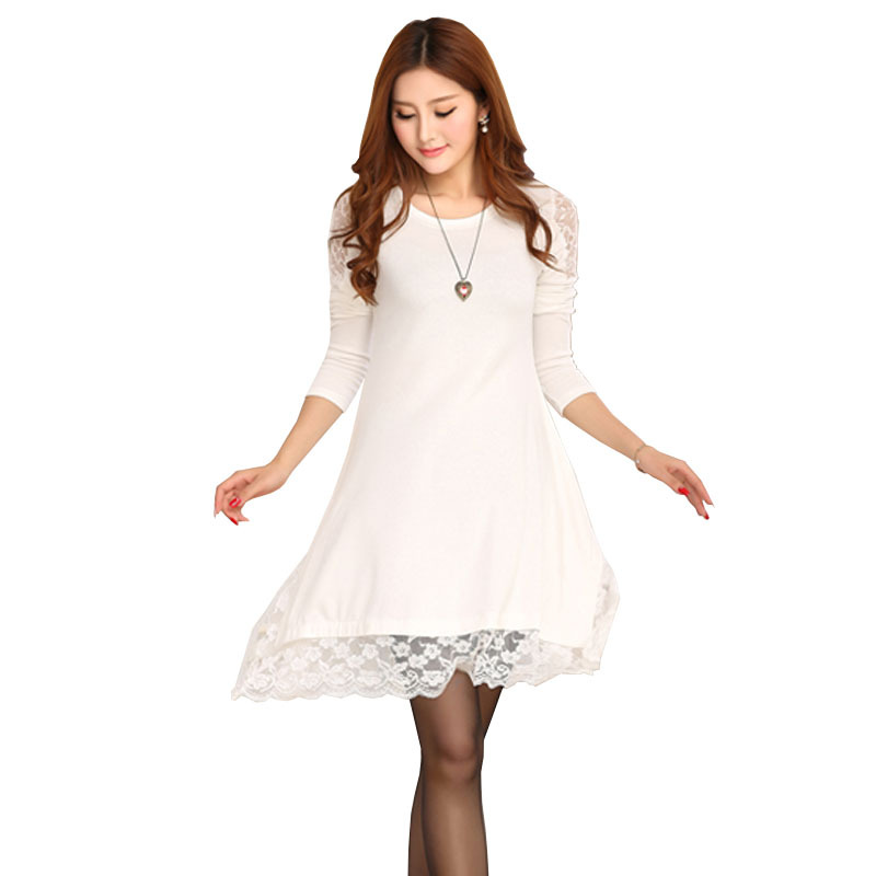 Plus Size Loose Long Sleeve Pregnant Lace Maternity Dresses ...