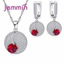 Простой стиль, Круглый 925 пробы, серебряные ожерелья, серьги, ювелирный набор с тонким красным кристаллом для женщин, женские вечерние