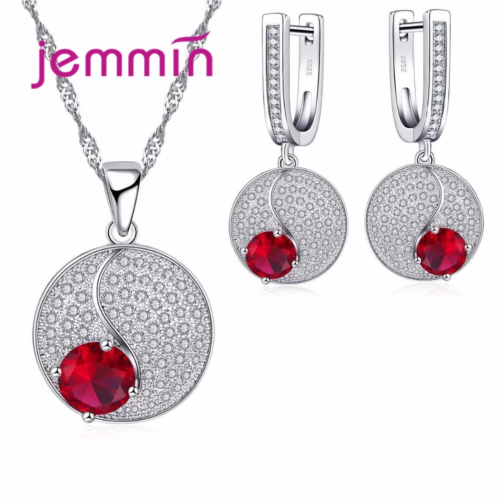 Simple Style Round 925 Sterling Silver Necklaces Earrings Jewelry Set With Fine Red Crystal For Women Lady Party