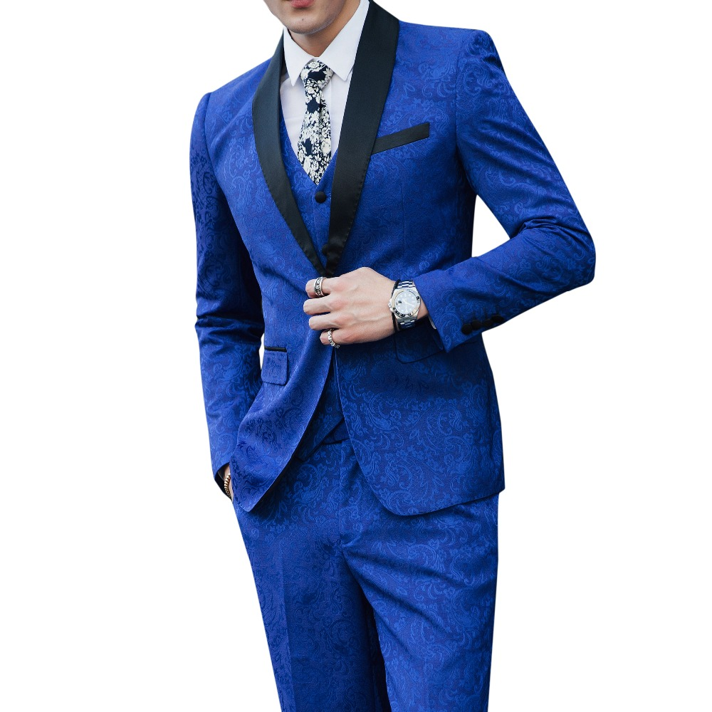 (Tops + Pants + Vests) Mens Slim Youth Large Size Print Suits New Stage Fashion Singers Costumes Hosts Flower Jackets S-5XL