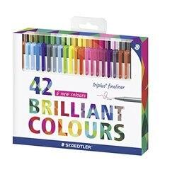 Staedtler 334 42 Triplus Fineliner ручки 0,3 мм маркер металлический плакированный наконечник цветная линия ручка игла Ручка гелевая ручка 42 цвета набор