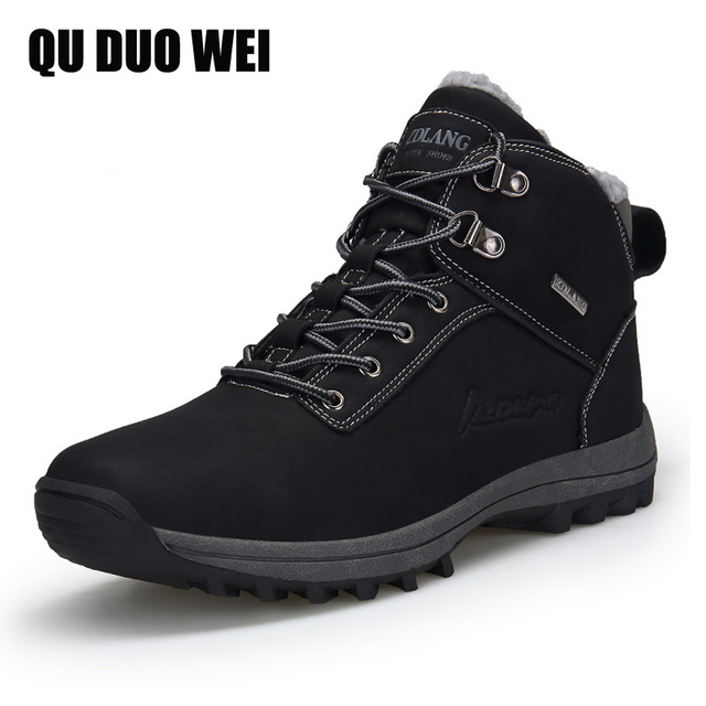 f7a87b7bd1 US $27.99 49% OFF|Winter Men Boots With Fur & Canvas Fashion Ankle Snow  Boots Non Slip Rubber Warm Boot Men Work Shoes Winter Sneakers Big Size  47-in ...