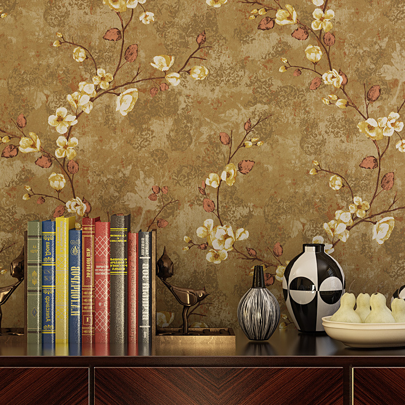 Beibehang American Country Vintage Paper Wallpaper Living Room Bedroom TV Background Wall Garden Vine Plum Green In Wallpapers From Home