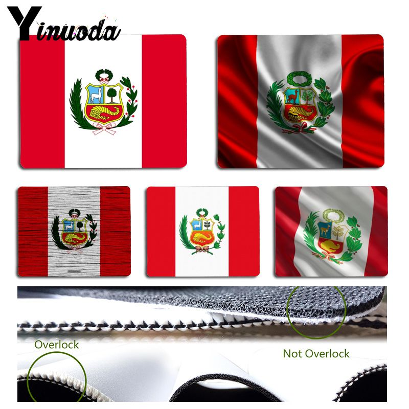 Yinuoda Cool Fashion Peru Flag Gamer Speed Mice Retail Small Rubber Mousepad Size for Size for 180x220x2mm and 250x290x2mm