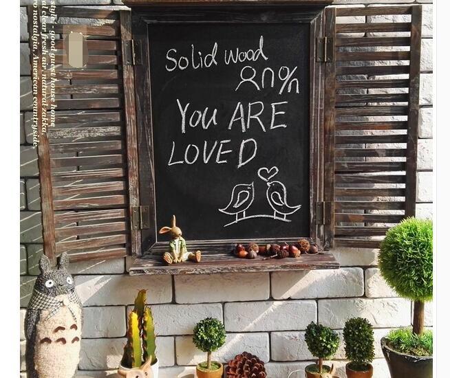Livraison gratuite, High-50cm, campagne rurale rétro faux bar café vitrines en bois tableau noir décoration murale ornements