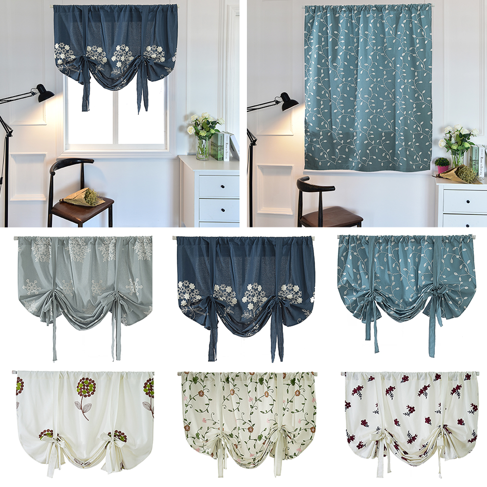 Us 11 61 35 Off Roman Leaves Curtain Balloon Shade Fl Embroidery Tie Up Curtains Rod Pocket For Kitchen Window Valance Blackout In From
