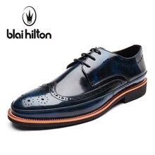 Blaibilton дизайнер 100% натуральная кожа лоскутное платье в деловом стиле Мужская обувь броги модные классические повседневные мужские туфли оксфорды