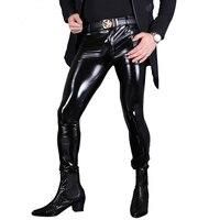 Seksi Erkekler için Moda PVC Parlak Skinny Faux Deri Pantolon erkekler Seksi Islak Bak Parlak Stil Kalem Pantolon Eşcinsel Aşınma F130