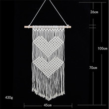 Cotton tapestry Original heart-shaped woven wall hanging home decorations literary fan accessories curtain macrame
