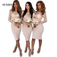 Лодка шеи невесты платья по колено с длинными рукавами и кружевом Свадебная вечеринка платье для девочек короткие платья выпускного вечера