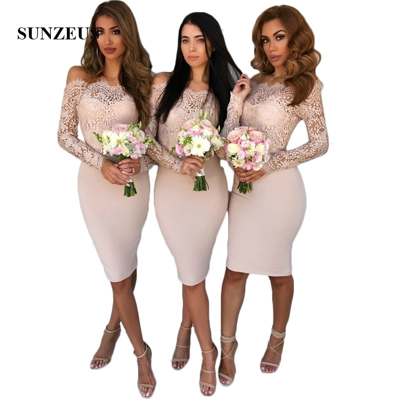 Boat Neck   Bridesmaid     Dresses   Knee Length Lace Long Sleeve Wedding Party   Dress   for Girls Short Prom   Dresses   abito damigella SBD64