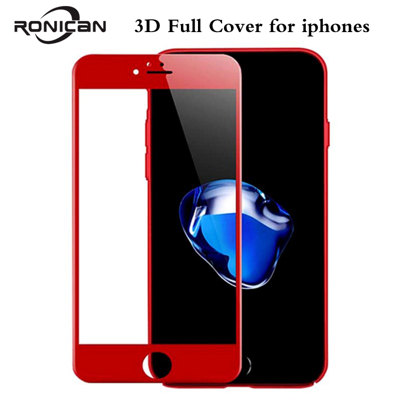 RONICAN 3D Soft Edge Full Cover Red Glossy Carbon Fiber Tempered Glass For iPhone 7 7Plus Screen Protector Film For iPhone 6 6s Углеродное волокно