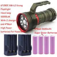 10000 Lumens Underwater Diving Flashlight 6x XM L2 LED Light Hand Lamp Handlamp Torch lantern With 4 Battery&Charger