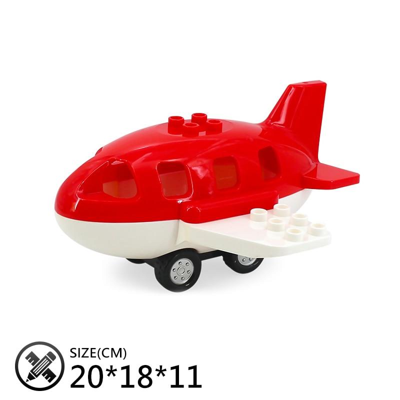 Купить с кэшбэком mini Car bus helicopter Cartoon plane Big size Building Blocks Original Vehicle accessory DIY Toys Compatible Duplo Bricks Sets