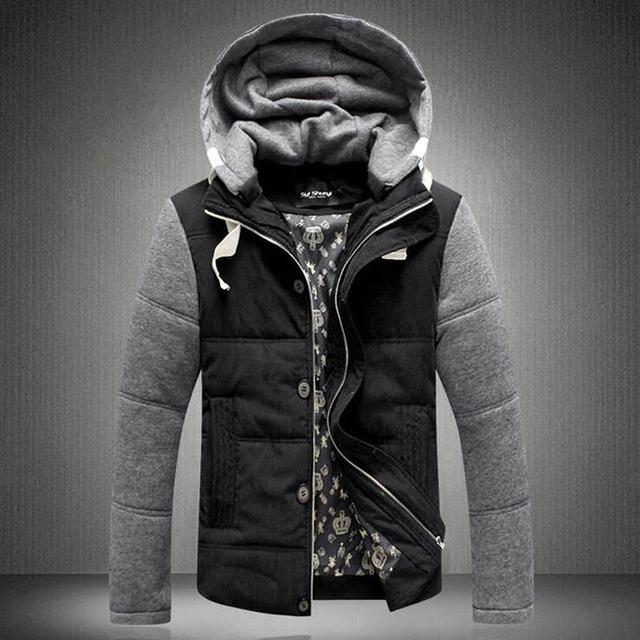 2016 Novo Chegada de Retalhos de Algodão Casaco Parka Zipper Engrosse Ceket Outerwears Quentes Homens Jaqueta de Inverno Quente Jaqueta Com Capuz para homens