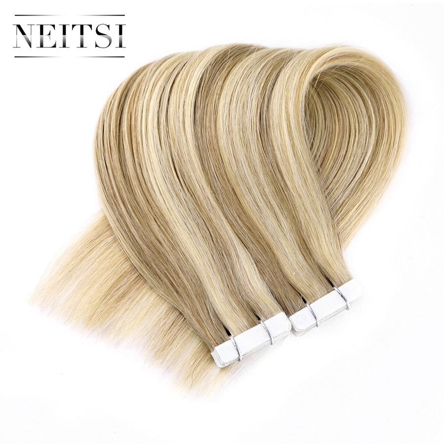 Neitsi Straight Skin Weft Adhesive Hair Geen Remy Tape In Human Hair - Mensenhaar (voor wit) - Foto 3