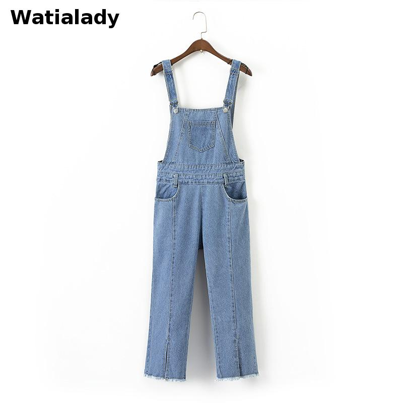 Watialady 2017 Autumn Winter Women Wide Leg Loose Ripped Denim Overalls Europe Jumpsuit Boyfriend Hole Pockets Jeans Romper denim overalls male suspenders front pockets men s ripped jeans casual hole blue bib jeans boyfriend jeans jumpsuit or04