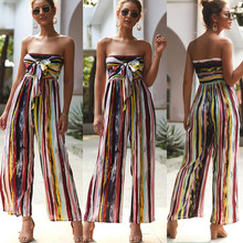 Summer Women Off Shoulder Jumpsuits Fashion 2019 New Brand Ladies Lace Up Striped Loose Elastic Romper Casual Jumpsuit