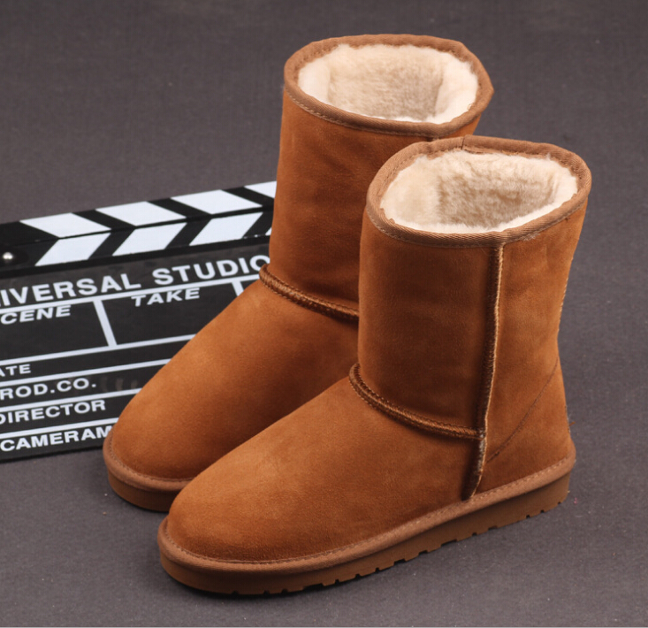 100% Sheep Wool Fur Women Snow Boots Genuine Leather Cowhide Lady Shoes Winter Warm Round Toe Anti-slide Slip On Mid-Calf Shoes