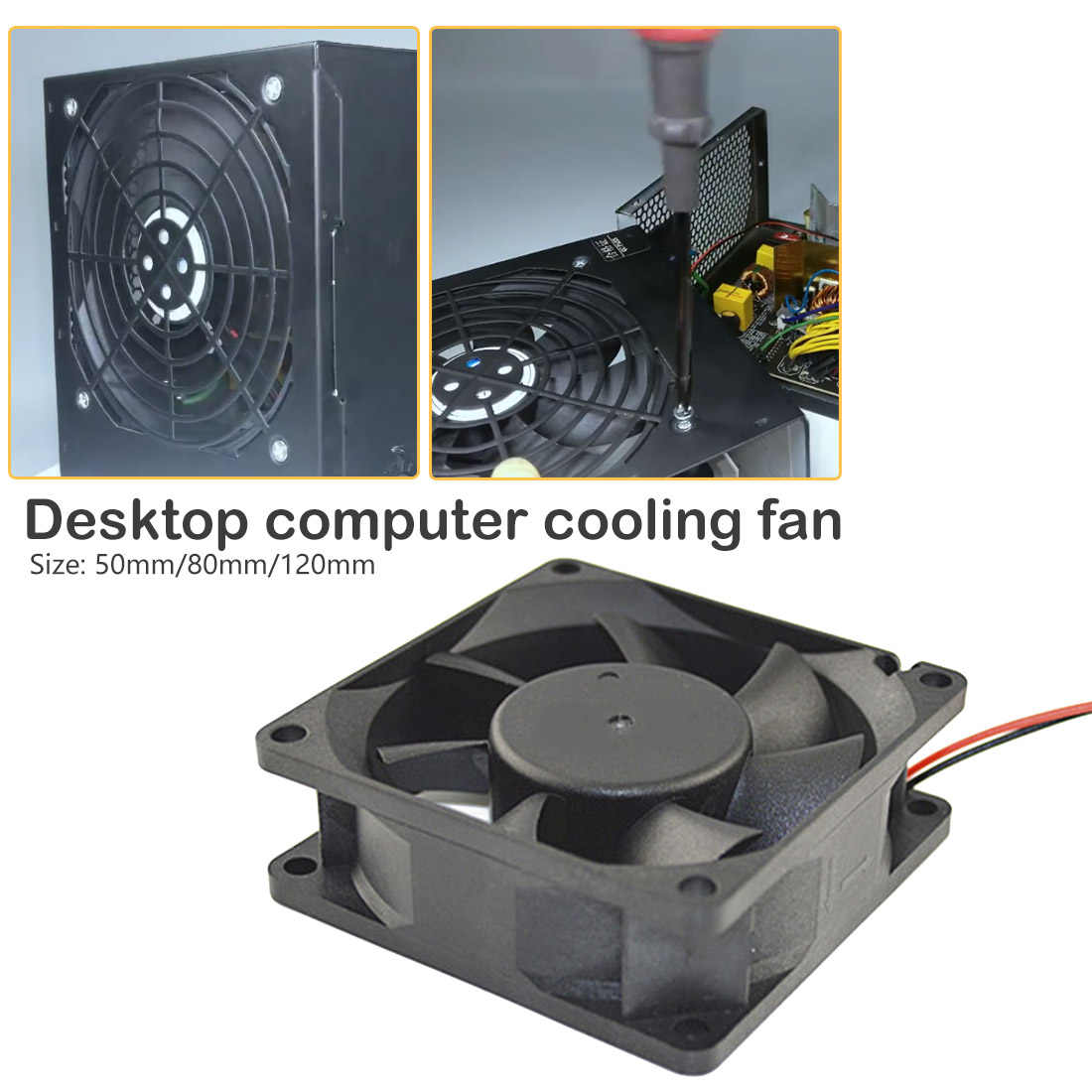 New 50 80 <font><b>120</b></font> <font><b>mm</b></font> 2 Pin Connector Cooling <font><b>Fan</b></font> for Computer Case CPU Cooler Radiator Computer Accessories <font><b>12V</b></font> DC CPU Cooling <font><b>Fans</b></font> image