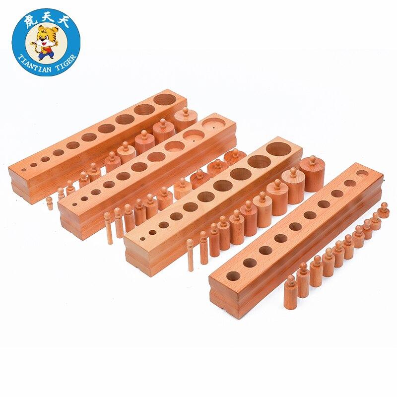 Montessori aides pédagogiques maternelle apprentissage sensoriel jouets éducatifs en bois pour enfants bloc-cylindres