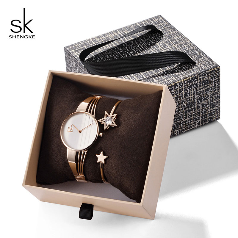 Shengke Creative Quartz Watch Women Bracelet Set 2019 SK Ladies Watches Gift Jewelry Set Relogio Feminino Clock Montre Femme