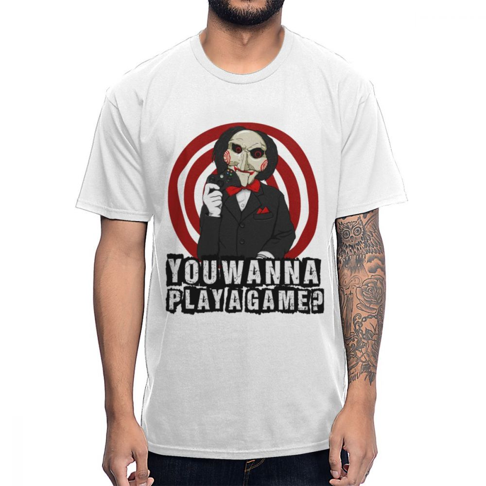 Jigsaw Horror Movie T Shirt You Wanna Play A Game Tee Shirt 2019 New Arrival Homme Tee Shirt Round Collar Big Size Homme T-shirt