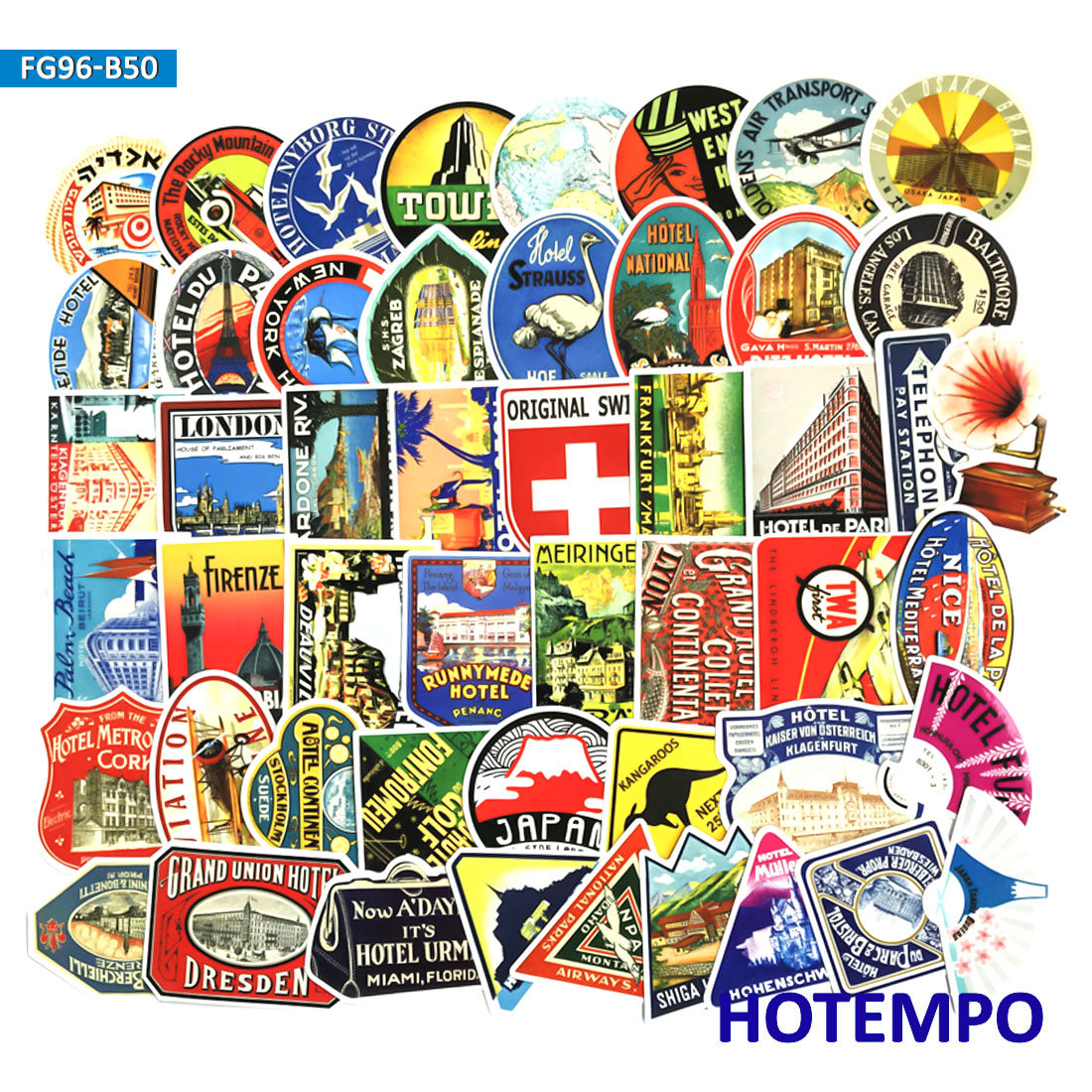 50pcs Vintage Hotel Travel Retro Style Stickers For Mobile Phone Laptop Luggage Guitar Case Skateboard Bike Car Decal Stickers