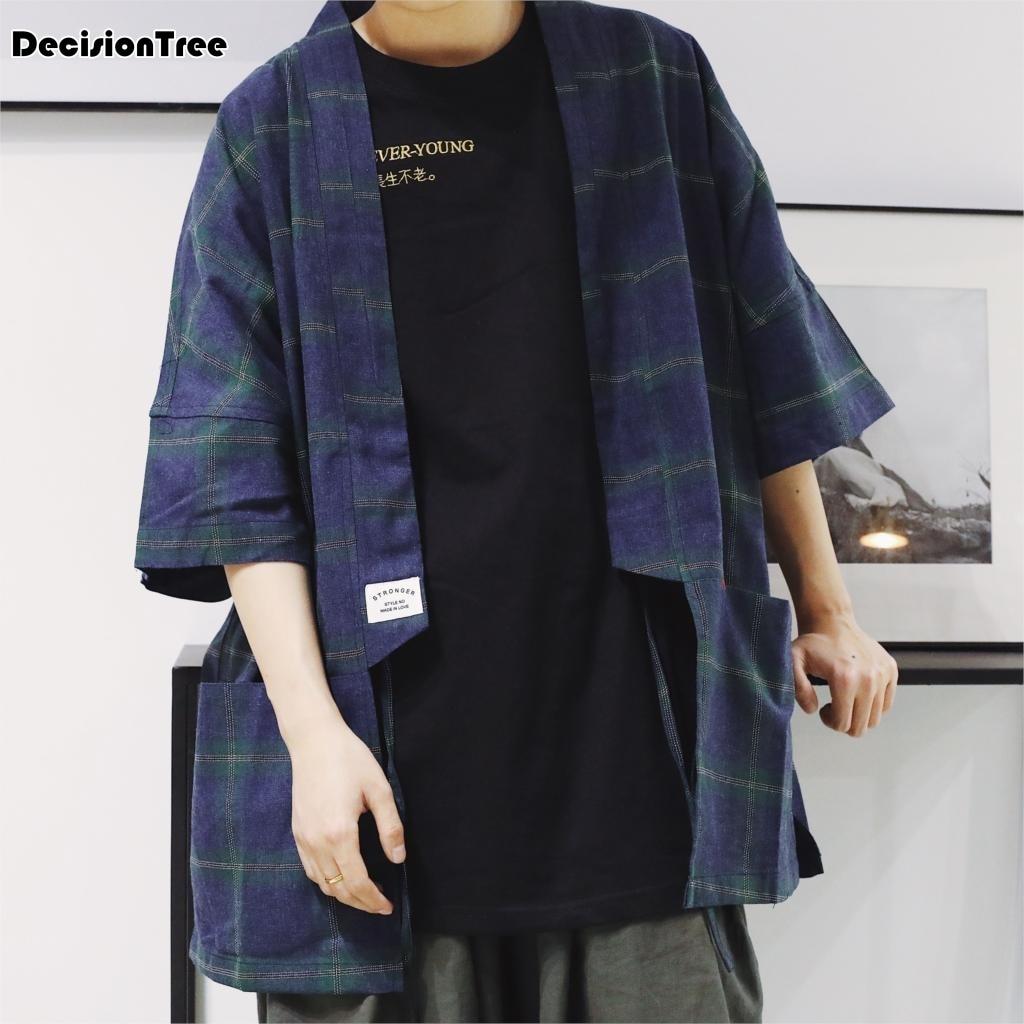 2019 été japon Style Kimono veste hommes vagues et vent Dragon vestes grande taille 3/4 manches ouvert point manteau mâle coupe-vent