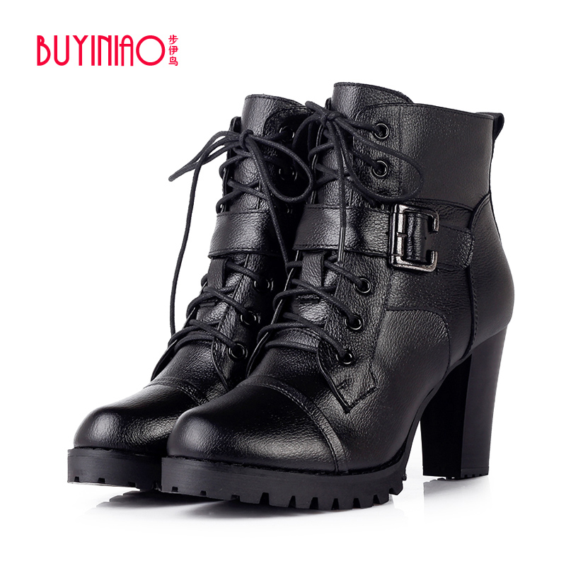 ФОТО BUYINIAO Brand 2017 Spring Autumn Cow Leather Women Motorcycle Boots Botas Buckle Strap Waterproof Boots Zipper Martin Boots