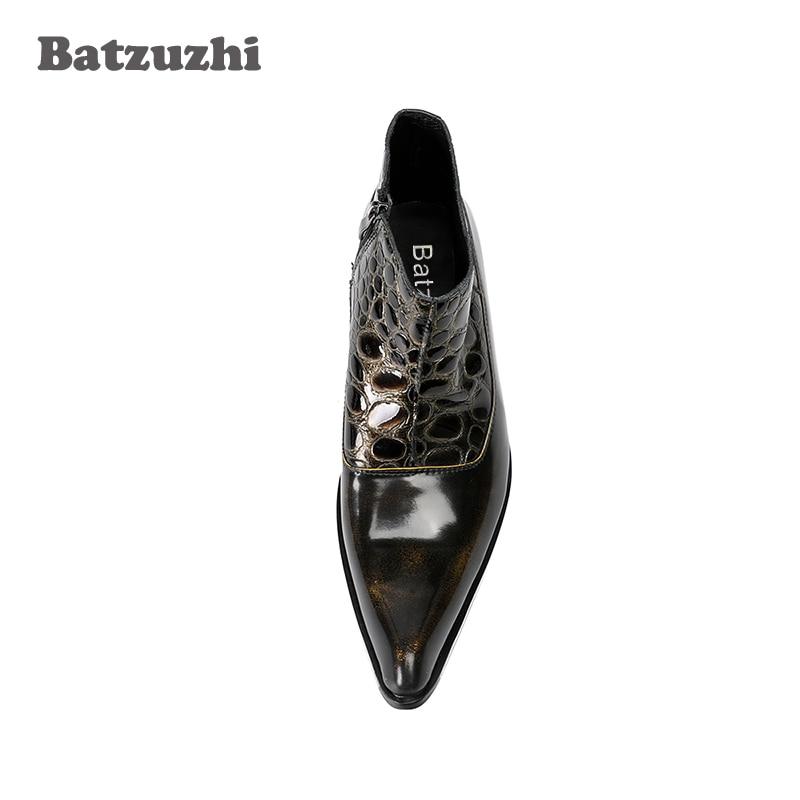 Us12 Botas De Bronze Batzuzhi Artesanal Zip Dos Negócios Curto Vestido Ankle Couro Apontou Homens Toe Moto Luxo Boots Aqx1dfTw
