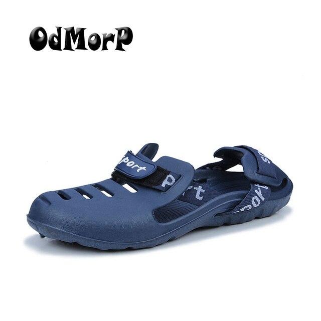 c9c41c577c ODMORP Sandálias de Design Da Marca Homens Sapatos Deslizamento de Moda  Masculina Sandálias de Verão Chinelos