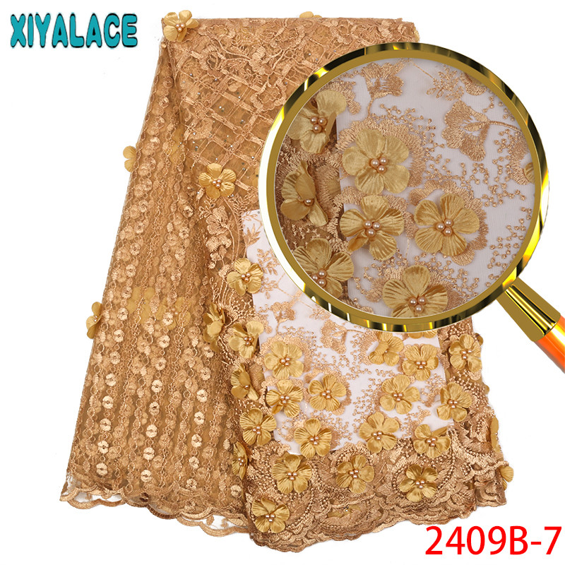 Hot Selling Products Pink French Tulle Mesh Lace Fabrics With Stones 3D Flowers Beaded Embroidered Lace