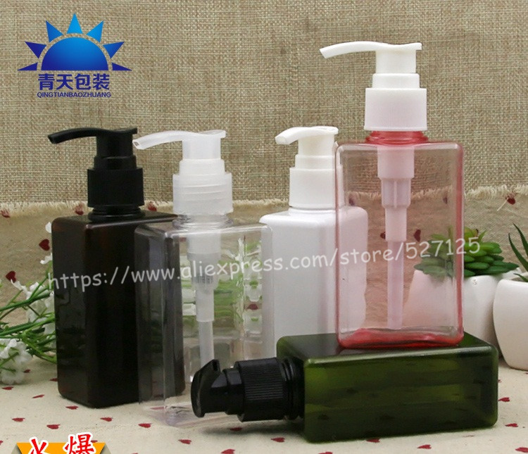 150ml pretty colors square PET bottle with clear white black pump lotion hand wash Shampoo moisturizer