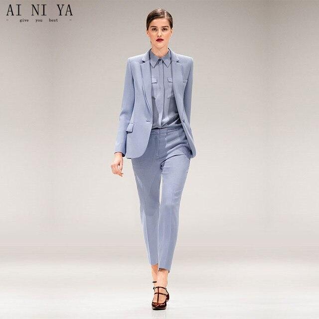 29eda1dc4d Chaqueta + Pantalones luz azul para mujer negocios Trajes mujer Oficina  uniforme único breasted señoras invierno