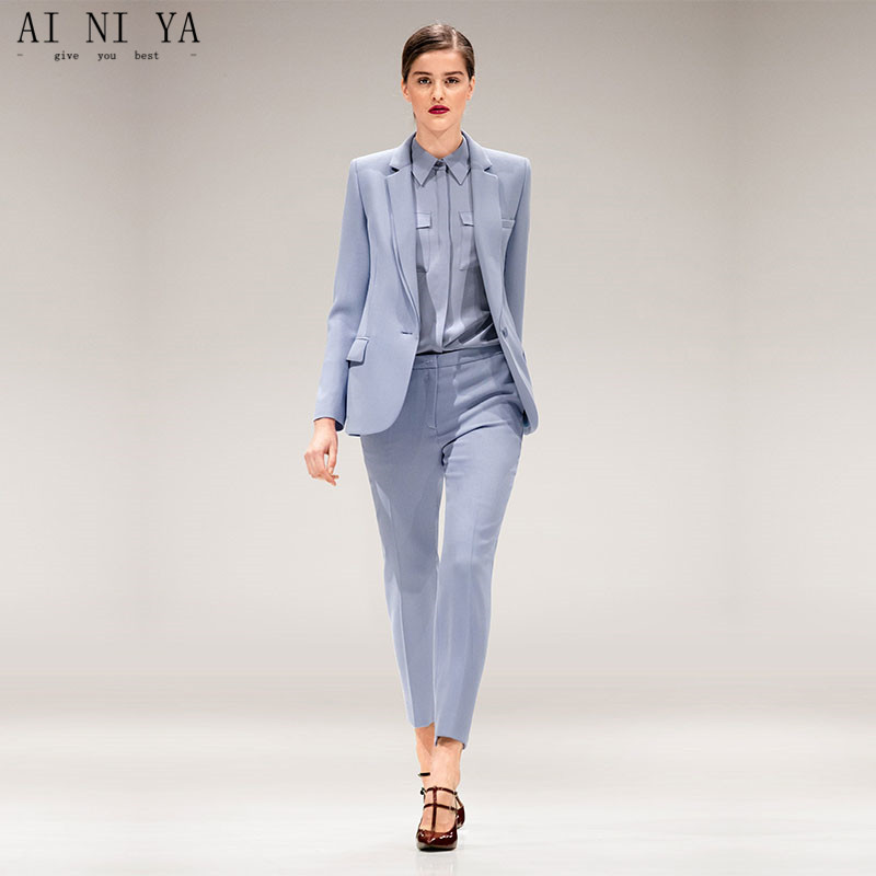 Jacket+Pants Light Blue Womens Business Suits Female Office Uniform Single Breasted Ladies Winter Formal Trouser Suits