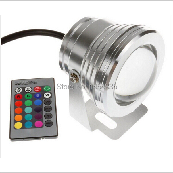 10pcs 10W12v Underwater RGB Led Light 1000LM Waterproof IP68 Fountain Pool Lamp 16 Color Change With 24 Key IR Remote controller 10w rgb underwater lamp w 24 key remote controller black