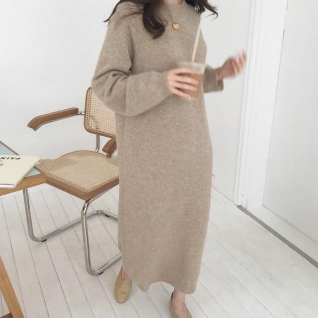 여성 가을 겨울 긴 니트 스웨터 드레스 여성 풀오버 긴 소매 스트레이트 대형 라운드 칼라