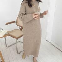 Women autumn Winter Long Sweater Dress Female Long Sleeve Straight Knitted maxi vestidos Plus Size pull Femme sukienki jurken