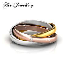 Her Jewellery mix 3 color ring classic gift three Tri ladies triple lock made with crystal from Swarovski HR0260