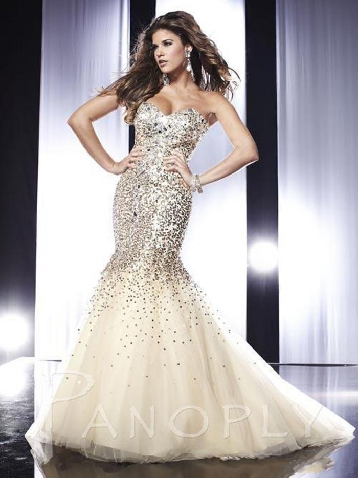 Shining charming sparkle evening dresses Sweetheart rhinestone sequins sweep train organza mermaid prom dress GL